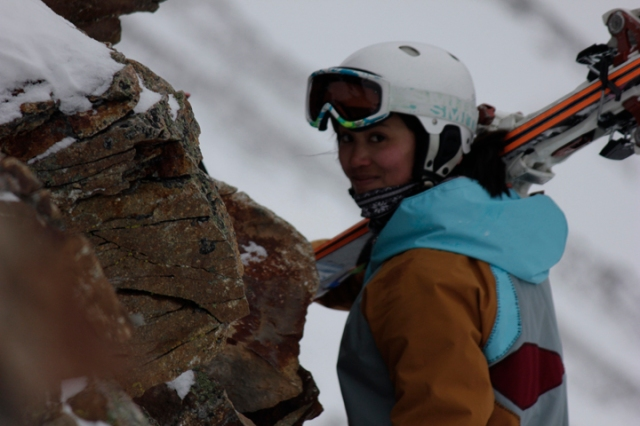 Freeride World Qualifier Wildcard Sasha Dingle making her way out to Jack Creek.