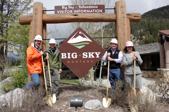 Matt Stark(CTA Engineering), Ryan Hamilton(Big Sky Town Center), David O' Connor(President Big Sky Chamber of Commerce), and Kitty Clemens(Executive Director Big Sky Chamber of Commerce) gather for the Big Sky Find The Way Project ground breaking.