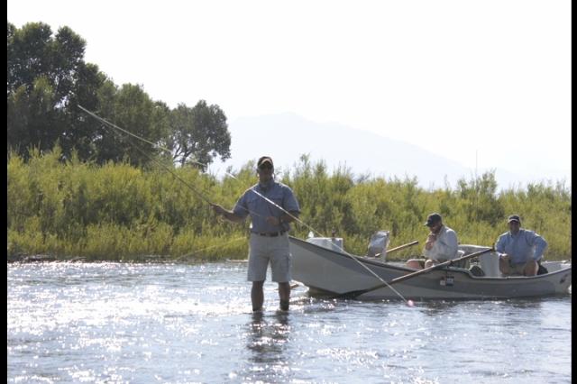 Moonlight Club members fishing the Madison River for the 2013 Moonlight Basin Cast & Blast tournament